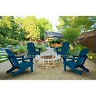 4x Adirondack Folding Chair Outdoor Patio Furniture Poly Seat Lounge Garden Deck