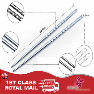 1 2 or 5 PAIRS STAINLESS STEEL METAL TWIST TRADITIONAL CHINESE CHOPSTICKS UKSELL
