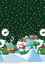 "2.6m/102"" XMAS christmas green night vinyl pvc wipe clean oilcloth TABLECLOTH"