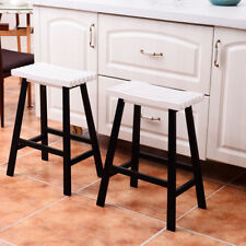 Bar Stools Home Kitchen Counter Dining Room Saddle Seat Wood Pub Chair Set of 2