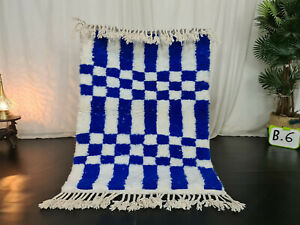 "Moroccan Handmade Beni Ourain Wool Rug 3'4""x4'7"" Checkered Berber White Blue Rug"