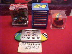 #24 JEFF GORDON 1/4 HELMET, WAR WAGON, CAR ORNAMENT, NASCAR TRIVIA PURSUIT GAME