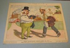 1901 Utica Globe Newspaper Color Cartoon Politicians Settling the Steel Strike