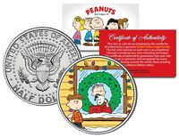 Peanuts XMAS w/ SNOOPY - CHARLIE BROWN - LINUS JFK Half Dollar US Coin LICENSED