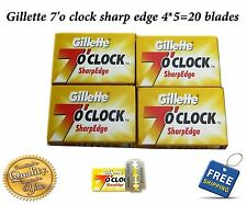 4 X 5=20 Gillette 7 O'Clock Shaving Razor Stainless steel safety Blades barber