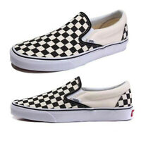 Men&Womens Summer Van s Classic Checkerboard Slip-on Shoes-Black White Plaid UK