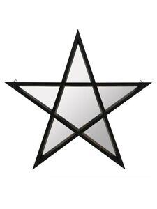 Mirror Pentagram Framed Black 45x45cm