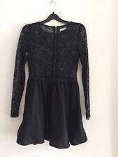 Ladies BLACK Long Sleeved Lace Detailed Dress By GLAMOROUS DESIGNER Size 10