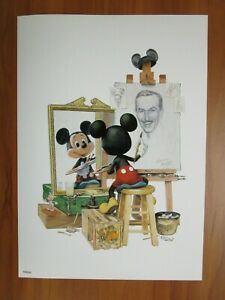 Disney Art Print Poster Walt Disney Self Portrait by Charles Boyer Mickey Mouse
