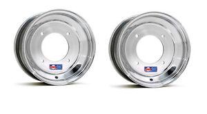 "DWT Polished Front Wheels Rims 10"" 10x5 3+2 4/156 Yamaha YFZ450 Banshee Raptor"