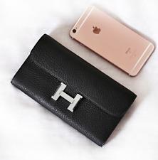 Epsom Constance Long Black Leather Wallet Clutch