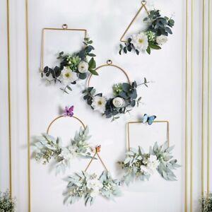 Metal Wreath Artificial Flower Hoop Wedding Holder Home Door Party Hanging Decor