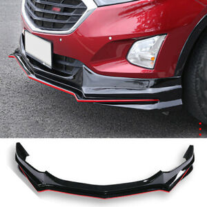 For Chevrolet Equinox 2018-2021 Black + Red Front Bumper Lip Spoiler Splitter