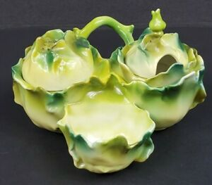 Antique Porcelain Green Cabbage Condiment Set Vine Handle Salt Pepper Mustard