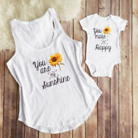 Mother and Daughter Matching Outfits Women Tee Tops Newborn Baby Girls Romper