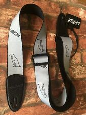Gretsch Genuine Penguins Strap in Grey Polyester with Black Leather Ends
