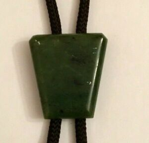 Bolo Green Marble Stone Western Adjustable Cord Gold Tone Tips Cowboy Neck Tie