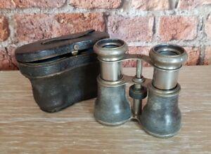 Vintage antique metal field glasses opera binoculars compact with case