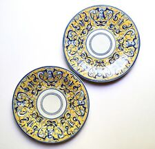 Pair Italian Majolica Plates Yellow & Blue w/ Grotesques, Early 20th C Antique