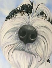 More details for tibetan terrier print on canvas, painting, gift, art, picture