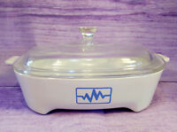 Corning Ware Blue Radio Wave Heartbeat EKG Brown N Sear Dish Pyrex Lid Vintage