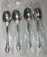 """Oneida Community Stainless Clarette Oval Soup Spoons 6 7/8"""" Set of 4"""