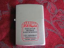 Zippo Lighter 1956 Advertising R H Taylor Radiator Works Tampa FL, Near Mint