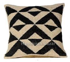 "Indian Vintage Kilim Woven Ethnic Pillow Case Throw 18"" Car Jute Cushion cover"