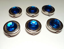 6- SILVER PLATED  17 1/2MM BUTTON COVERS WITH SAPPHIRE STONE-M305