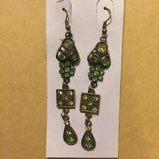 Vintage Dangle Hook Flower Square Earrings Nwt New Light Green Crystal Bronze