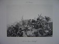 Grande Estampe originale Paul Emile BOUTIGNY Le 7ème de ligne à Malakoff  Pagès