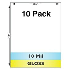 """10 Mil Gloss Full Sheet (8.5"""" x 11"""") Laminates - 10 Pack - Use With Teslin ID"""