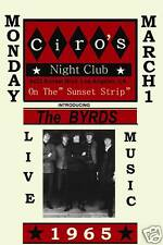 Introducing: The Byrds  at the Ciro's Club Los Angeles Concert Poster 1965