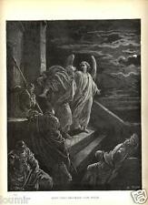 Stampa Antica = 1870= BIBBIA= SAN PIETRO FUGGE DI PRIGIONE= Gustave DORE'