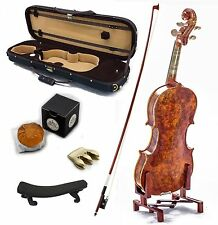 Mastero Sound 4/4 Size New VN431 Bird Eye Maple Violin Kit w Case Bow Rosin Mute
