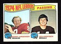 1975 Topps #2 Passing Leaders Sonny Jurgensen Redskins HOF Ken Anderson Card EX