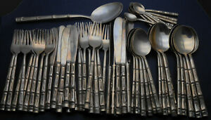 Vintage 9 Settings Thai Bronze Cutlery Set 64 Pieces - Bamboo Pattern