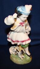 Antique Staffordshire Pottery Boy Chasing Cat Figurine As-Is