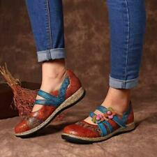 British Women Hook & Loop PU Leather Round Toe Shoes Floral Print Retro Loafers
