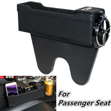 Leather Console Pocket Car Organizer Passenger Seat Box Catcher Cup Holder Black