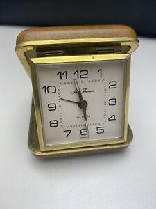 Vintage Seth Thomas Hard Case Foldable Travel Alarm Clock Wind Up Working