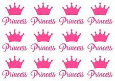 transfers*iron on* baby grow* vest* t shirts*text  PRINCESS & CROWNS  PINK X 12