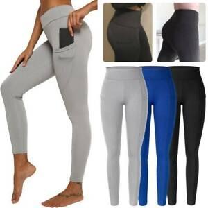 Hi-Waist Women Yoga Pants With Pocket Leggings Fitness Sport Gym Tight Jumpsuits