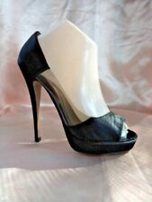 "Sachi leather-lined Sz 7.5 plastic sides open toe 4.5""heels, VGC, sheen material"