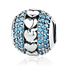 Blue & Clear Crystal .925 Sterling Silver Charm Bead fit European Bracelet Chain