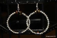 Hook Crystal Silver Plated Hoop Costume Earrings