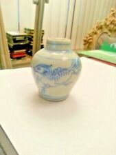 """Galloping horses on blue/white porcelain jar [probably Yuan D.]  almost 2.5""""  H."""