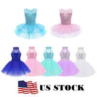 US Girls Kids Ballet Dance Dress Sequins Leotard Tutu Skirt Swan Dancing Costume