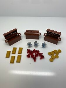Lego Lot of Brown Chests With Gold Coins, Bars And Jewels Gems Pirate Loot