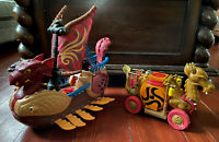 Fisher Price Imaginext Serpent Viking  Ship & Dragon Carriage 2010 - VINTAGE